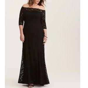 Black Lace Off Shoulder Gown